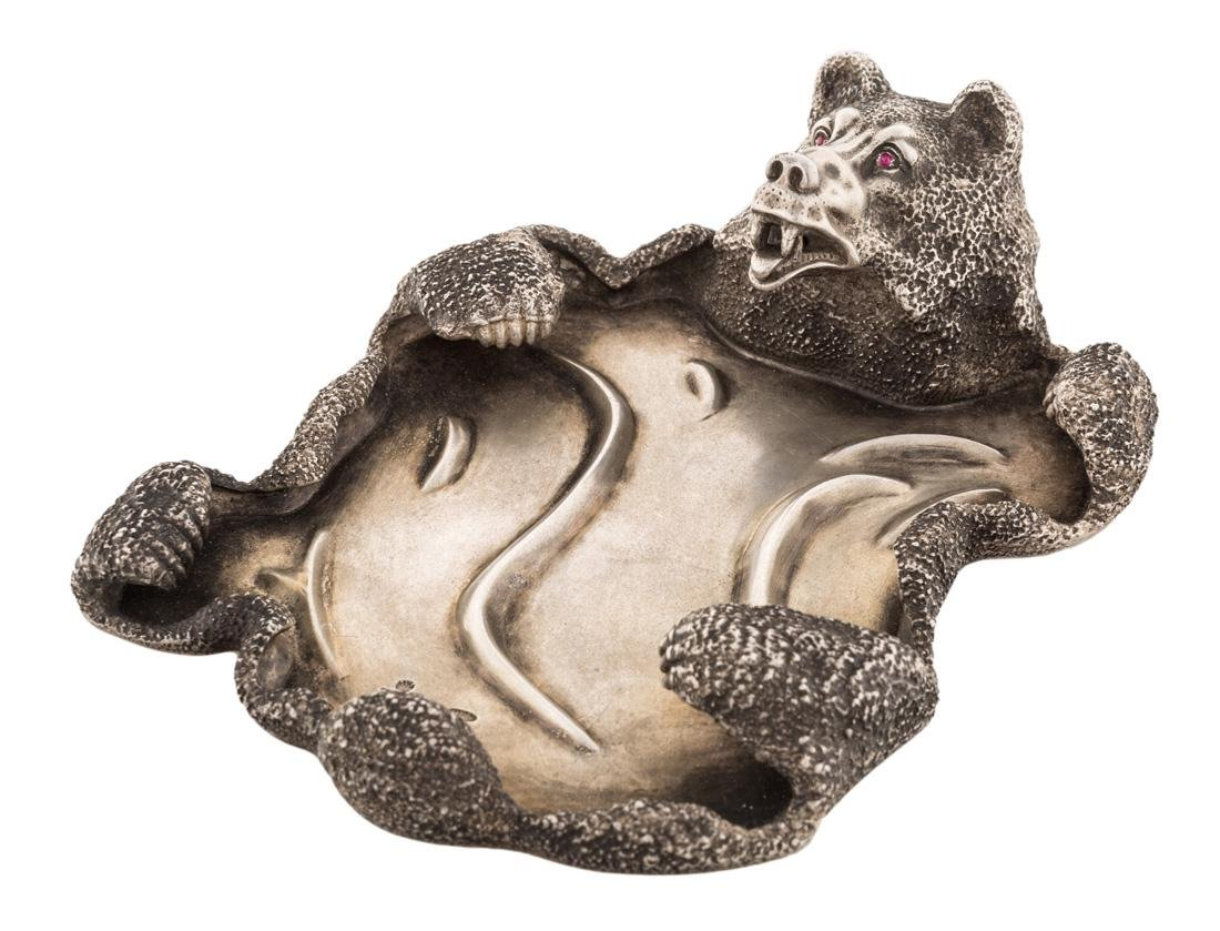 A FABERGE SILVER TRAY IN A FORM OF BEAR SKIN, K.FABERGE