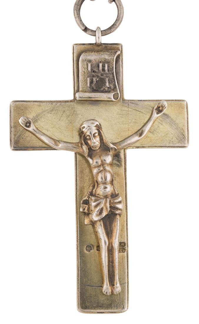 A RUSSIAN SILVER-GILT CROSS ON CHAIN, ST. PETERSBURG,