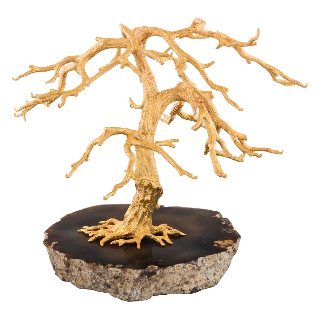 A RUSSIAN SILVER-GILT TREE ON ONYX GROUND, WORKMASTER