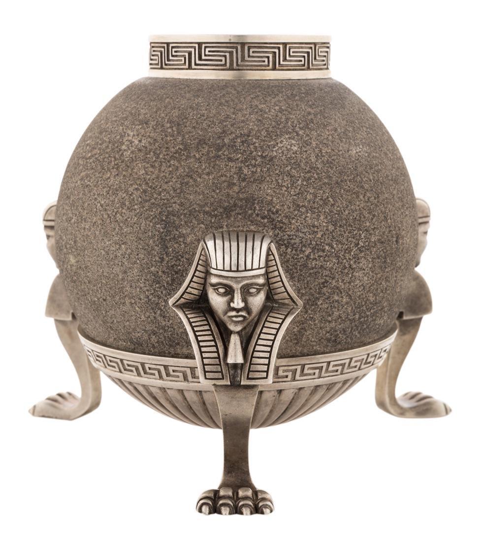 A RUSSIAN PARCEL-GILT SILVER SANDSTONE MATCH HOLDER,