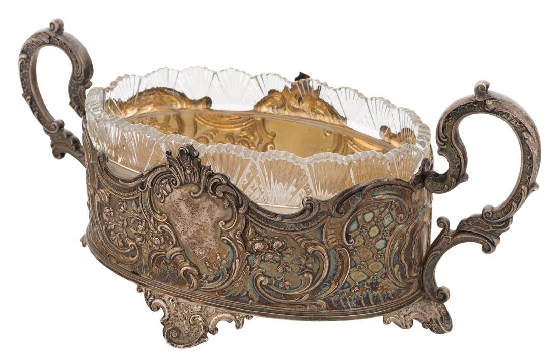 A RUSSIAN SILVER AND CRYSTAL CUT BOWL, WORKMASTER