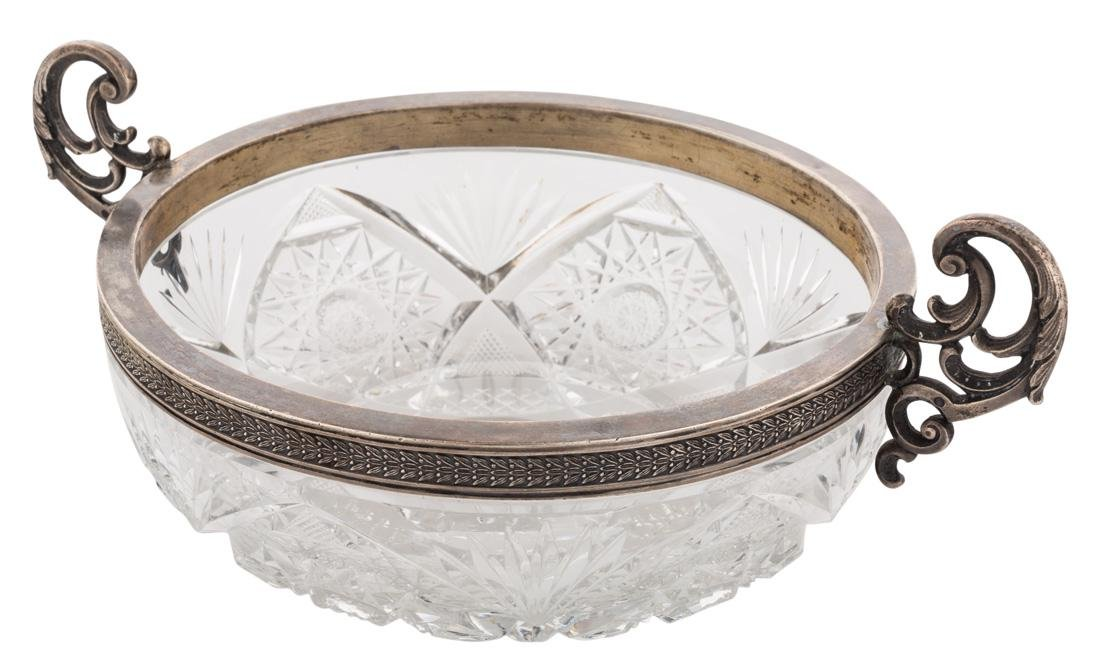 A RUSSIAN SILVER AND CRYSTAL CUT CANDY BOWL,