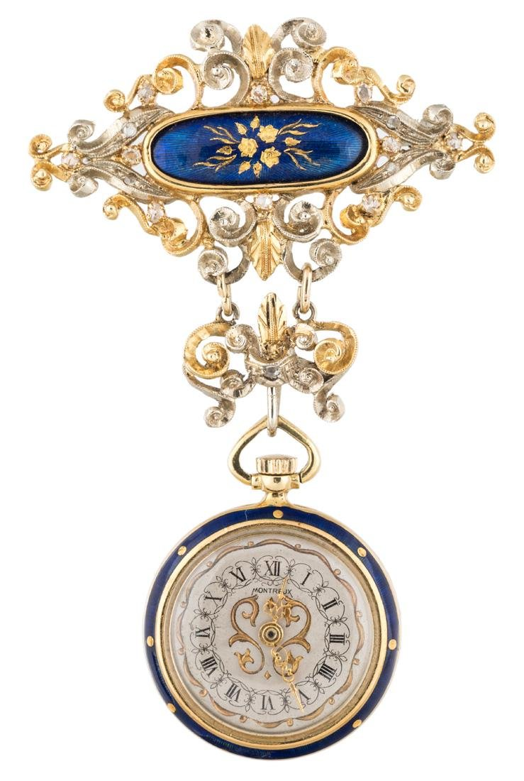 MONTREUX 18K GOLD, ENAMEL AND DIAMOND-SET OPENFACE