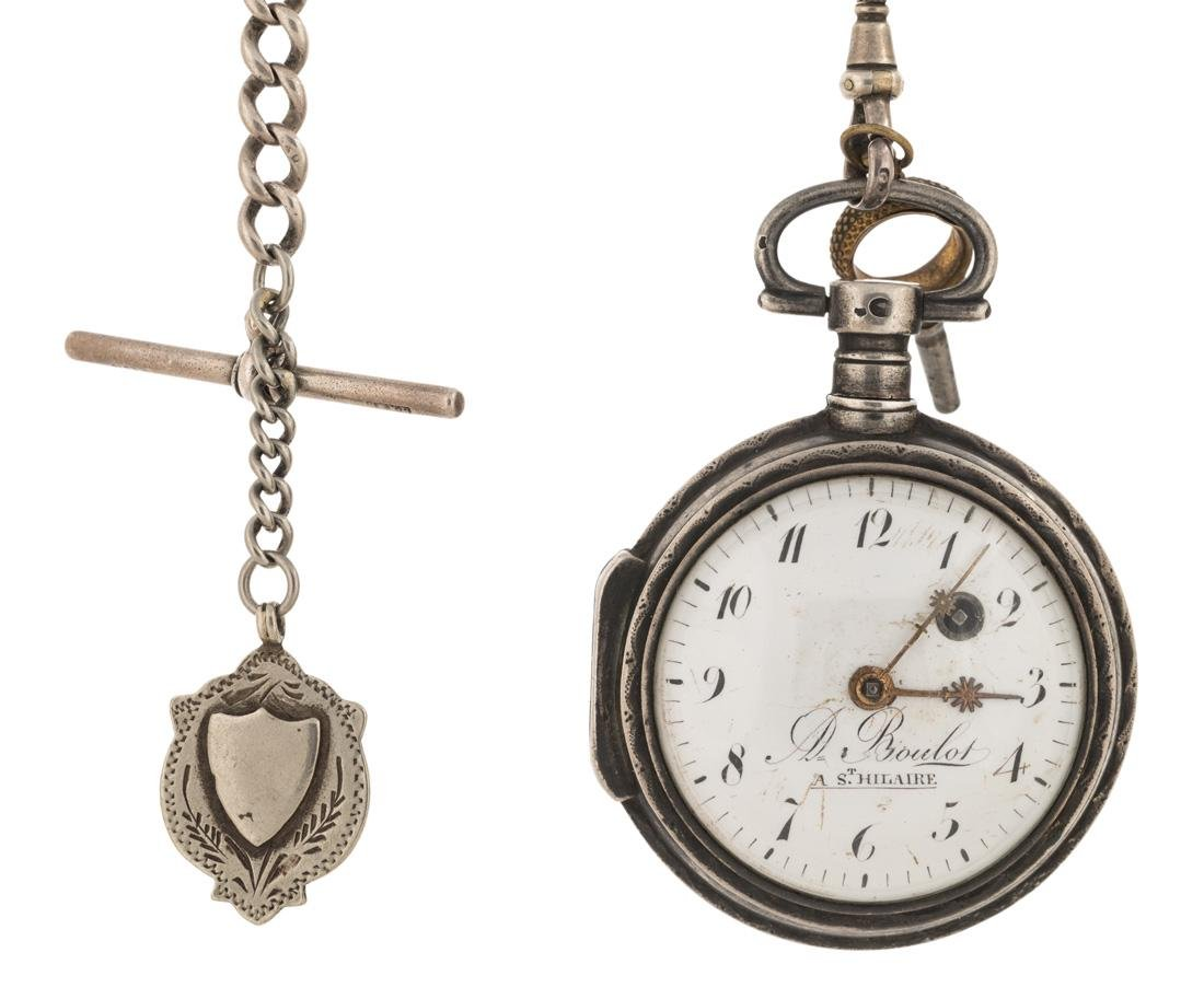 STERLING SILVER POCKET WATCH WITH KEY ON CHAIN
