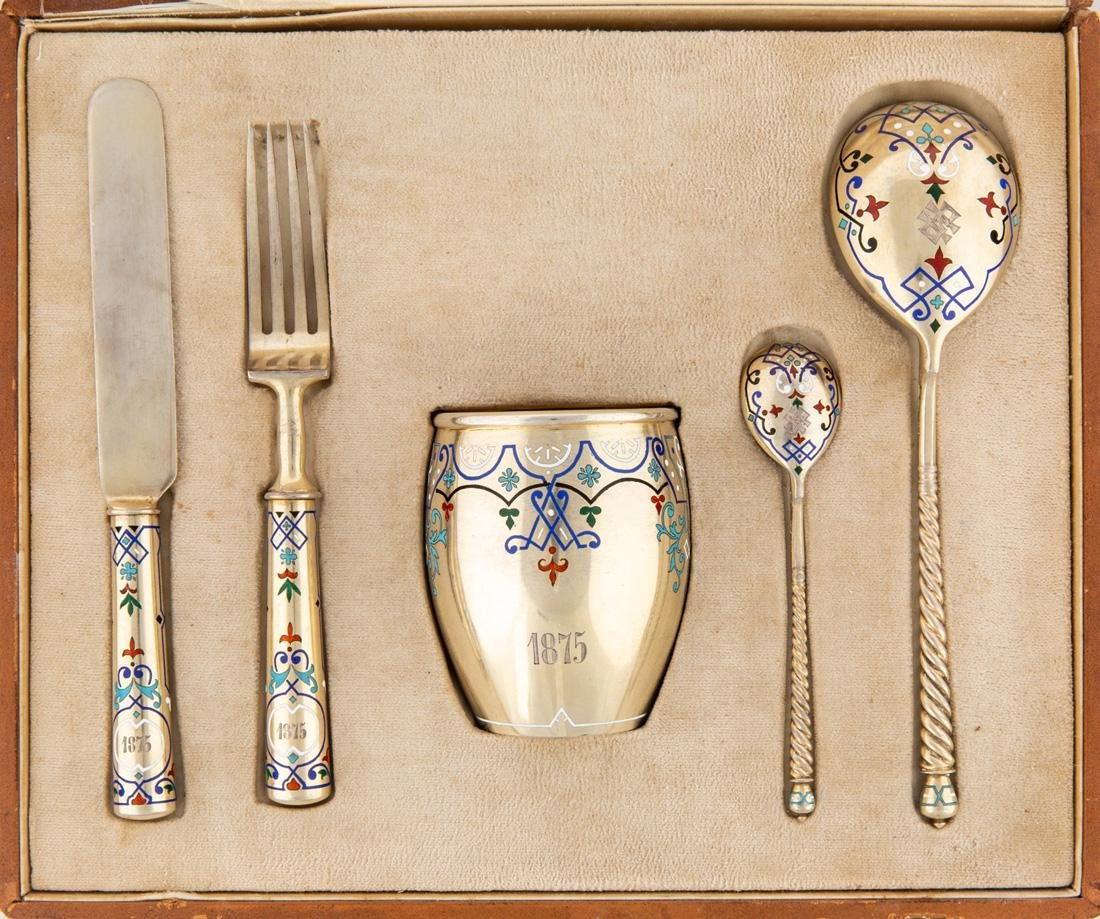 A RUSSIAN SILVER AND CHAMPLEVE ENAMEL PRESENTATION SET, - 2