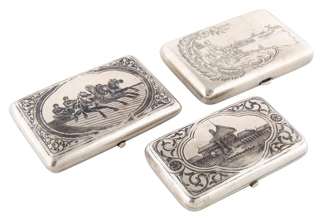 A GROUP OF THREE RUSSIAN SILVER CIGARETTE CASES, EARLY