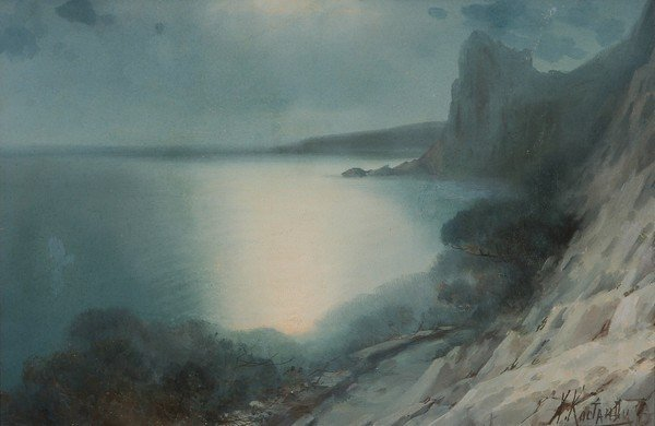 14: KOSTANDI B1868 Russian Watercolor Painting Crimea