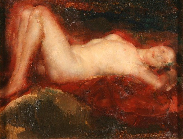 19: GRIGORY GLUCKMANN B1898 Russian Oil Painting Nude