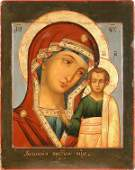 166 RUSSIAN ICON Kazan Mother Antique 19th Century