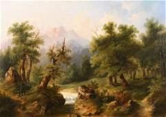 246 PAUL WEBER B1823 Antique American Oil Painting
