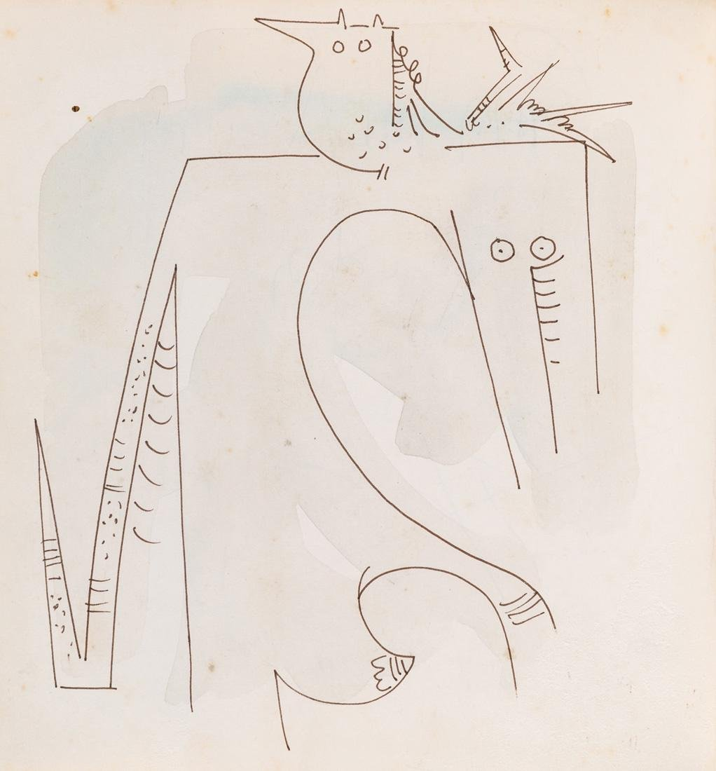AN ORIGINAL INK AND WATERCOLOR DRAWING BY WILFREDO LAM