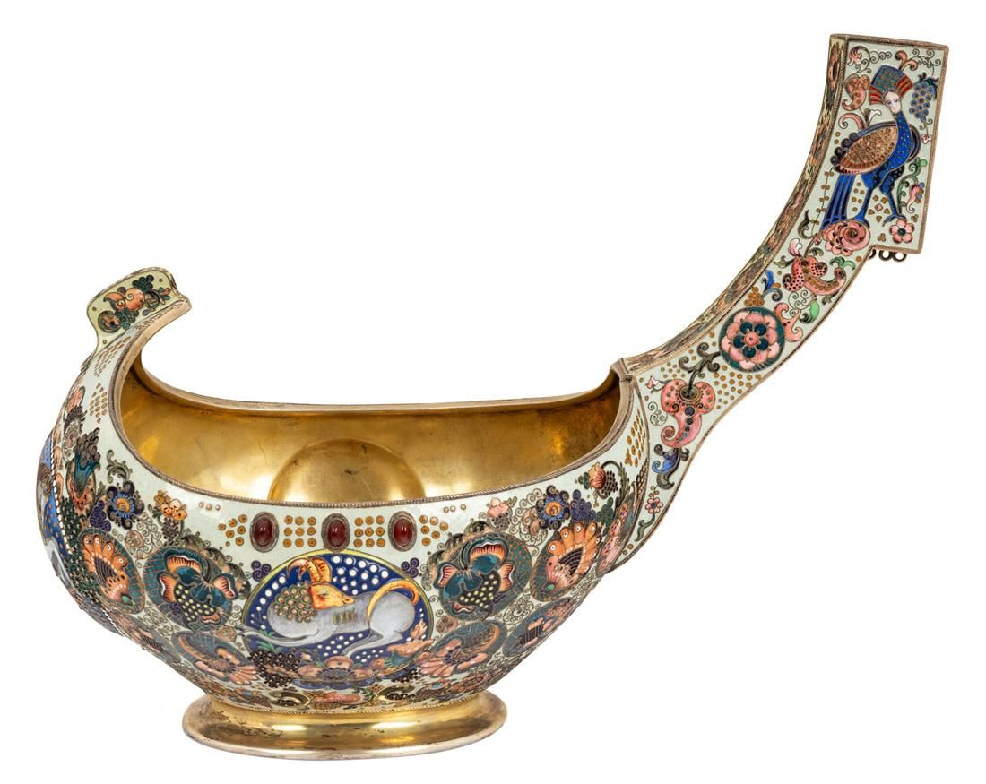 A LARGE RUSSIAN SILVER AND CLOISONNE ENAMEL KOVSH, GISH