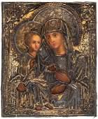 A RUSSIAN ICON OF THE MOTHER OF GOD TROERUCHITSA