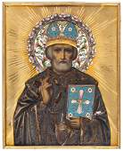 A RUSSIAN ICON OF ST NICHOLAS THE WONDERWORKER WITH