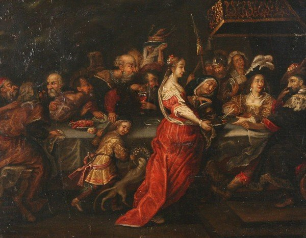 6: OLD MASTER Period Oil Painting Feast of Herod