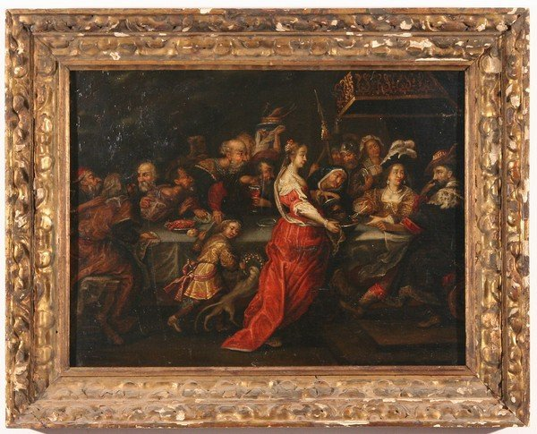 6: OLD MASTER Period Oil Painting Feast of Herod - 2