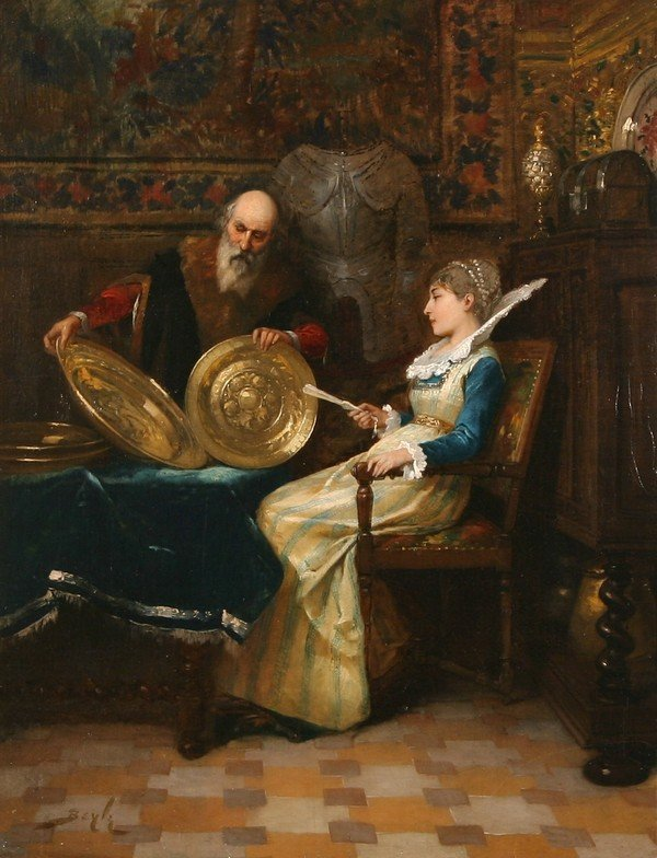 18: PIERRE BEYLE B1838 French Genre Oil Painting