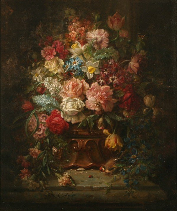 19: HANS ZATZKA B1859 Austrian Antique Oil Painting