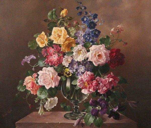 21: HAROLD CLAYTON British Oil Painting Still Life