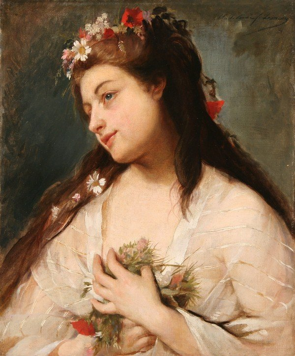 23: MADELEINE LEMAIRE B1845 French Oil Painting