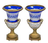 A PAIR OF RUSSIAN ORMOLU MOUNTED CUT CRYSTAL AND COBALT