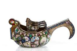 A RUSSIAN FABERGESTYLE SILVER AND SHADED CLOISONNE