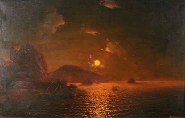 17: ZHUKOV ANTIQUE RUSSIAN PAINTING SEASCAPE MOONLIGHT