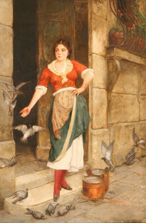 22: STIEPEVICH B1841 RUSSIAN OIL PAINTING GIRL PIGEONS