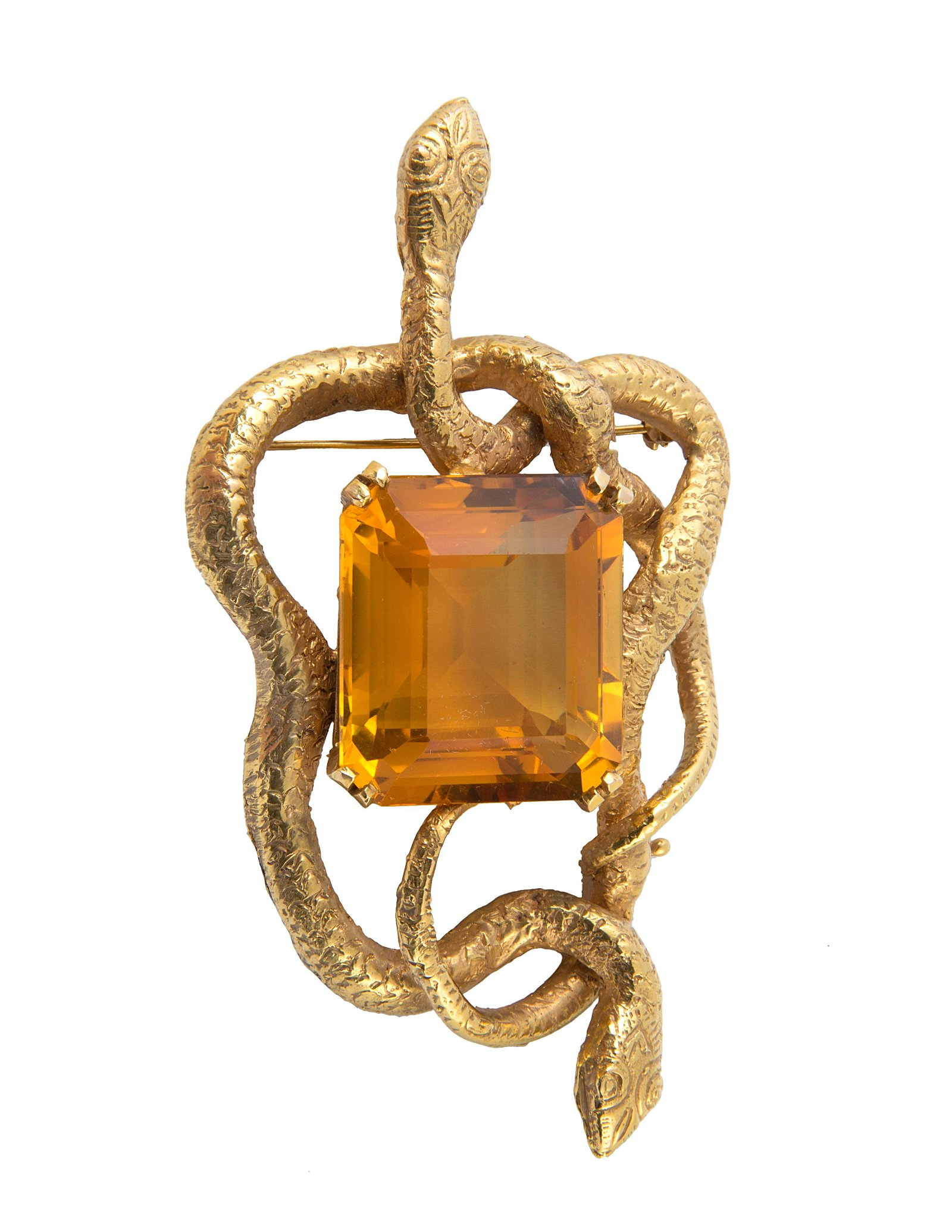 A LATE 20TH CENTURY ERIC DE KOLB 14K GOLD AND CITRINE