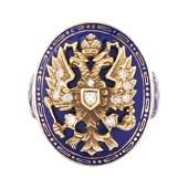 A RUSSIAN GOLD DIAMOND AND ENAMEL RING CIRCA