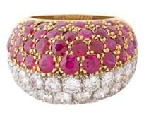 DIAMOND AND RUBY COCKTAIL RING, CARTIER, PARIS, CIRCA