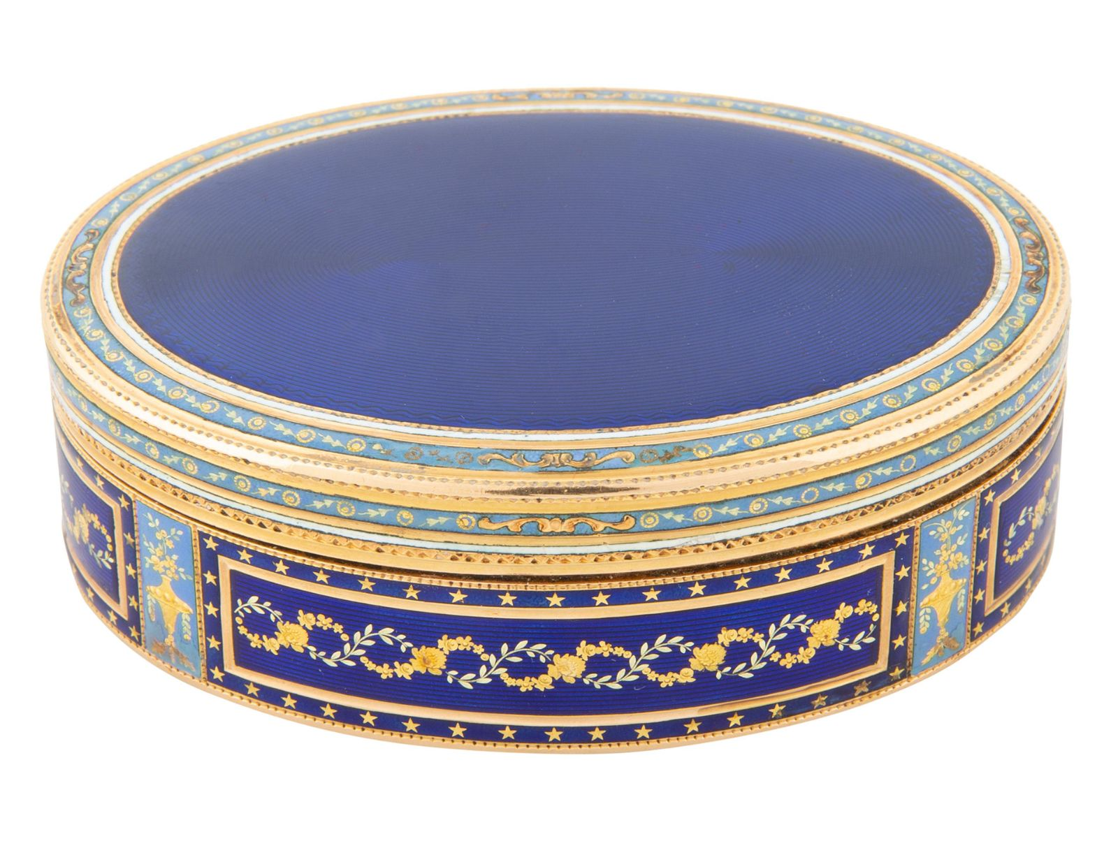 A FRENCH GOLD AND GUILLOCHE ENAMEL SNUFF BOX, 19TH