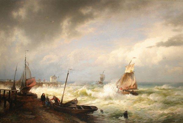 12: HERMANN HERZOG b1832 Marine Painting dated 1877
