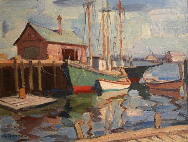 17: GIANNI CILFONE b1908 Painting Gloucester MA Boats