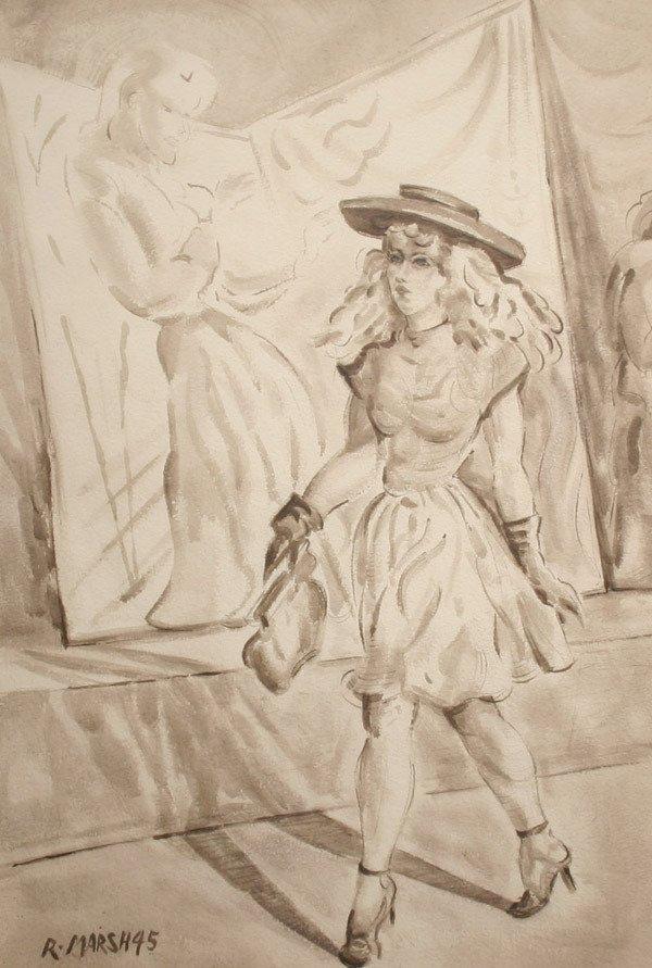 81: REGINALD MARSH b1898 American Drawing WPA 1945
