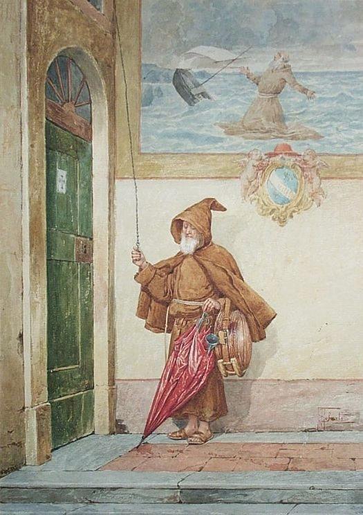 106: ALBERT PIERRE ROBERTI b1811 Painting Belgian Monk