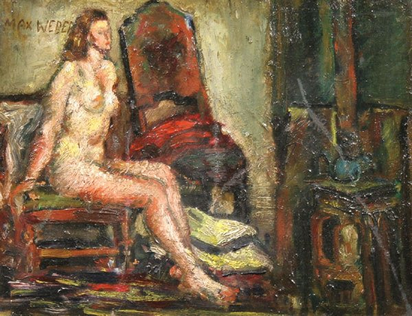 144: MAX WEBER b1881 Painting Listed American Nude