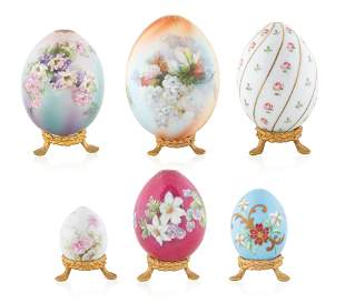"""SET OF SIX IMPERIAL RUSSIAN """"FLOWER"""" EASTER EGGS"""
