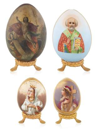 """A SET OF FOUR IMPERIAL RUSSIAN """"SAINTS"""" EASTER EGGS"""