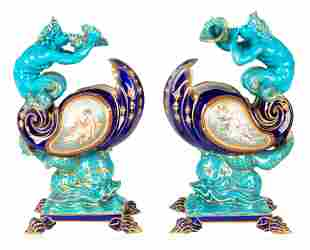 A PAIR OF SEVRES STYLE COMPOTES, EARLY 20TH CENTURY