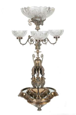 AN BRITISH SILVER-PLATED AND CUT GLASS TWO-PIECE
