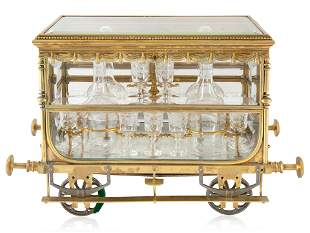 A FRENCH ORMOLU-MOUNTED CRYSTAL CAVE A LIQUEUR