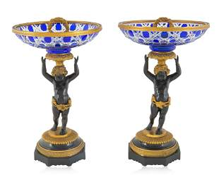 A PAIR OF PROBABLY FRENCH GLASS & BRONZE GILT COMPOTES