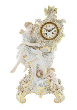 A MEISSEN PORCELAIN CLOCK, RETAILED BY TIFFANY & CO.
