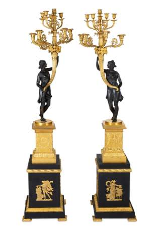 PAIR OF FRENCH NEOCLASSICAL ORMOLU AND PATINATED BRONZE