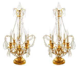 A PAIR OF GIRANDOLE GILDED BRONZE AND CUT GLASS TABLE