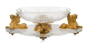 A CRYSTAL CUT CENTERPIECE WITH BRONZE, MAISON BACCARAT,