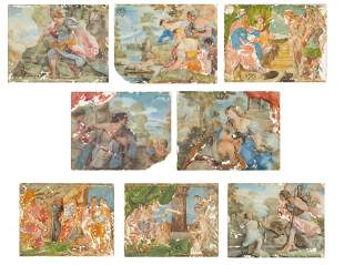 A GROUP OF EIGHT REVERSE GLASS PAINTINGS, NEAPOLITAN