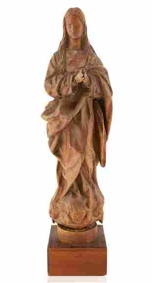 A CARVED WOODEN FIGURE OF THE IMMACULATE VIRGIN, MOST