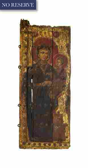 A LARGE ARMENIAN PAINTED WOODEN DOOR, 17TH-18TH CENTURY